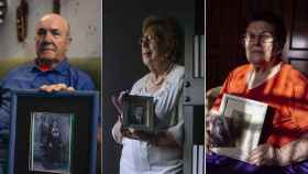 Paco Gomada, Anastasia Tsakos y Josefa Vandenbossche, tres hijos de brigadistas internacionales, asentados en Albacete.