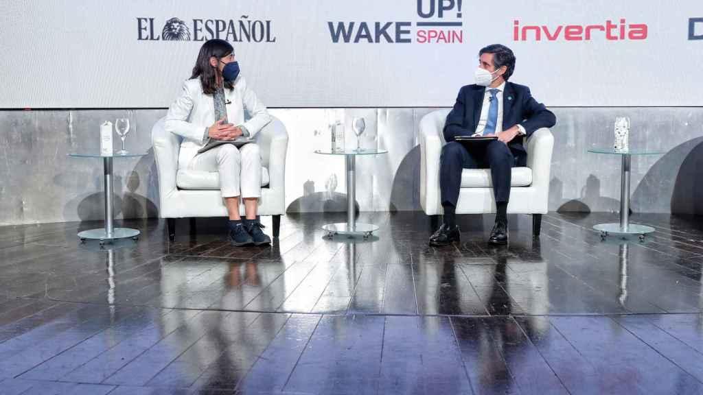 María Blasco, directora del Centro Nacional de Investigaciones Oncológicas (CNIO) y José María Álvarez-Pallete, presidente de Telefónica en el simposio 'Wake up, Spain!', organizado por EL ESPAÑOL, Invertia y D+I.