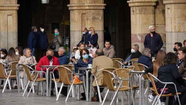 Terrazas en la Plaza Mayor de Salamanca. EP