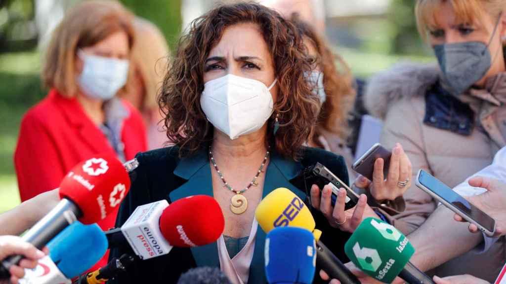 María Jesús Montero, durante sus declaraciones de este lunes.