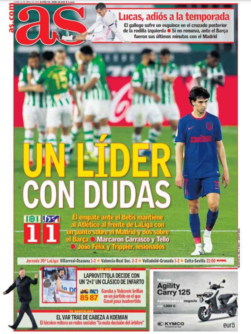 La portada del diario AS (12/04/2021)