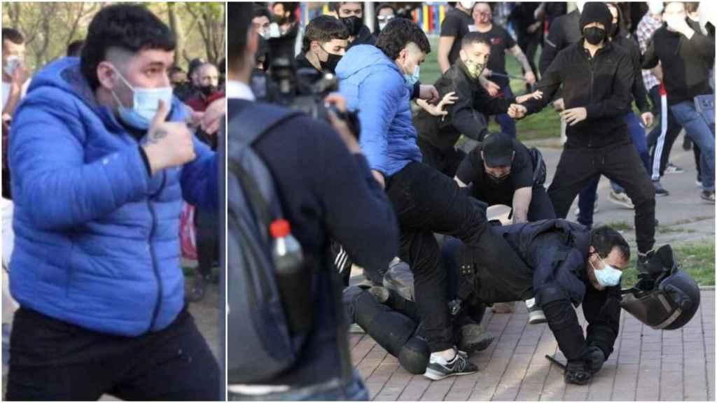 El ahora detenido, durante los disturbios en el mitin de Vox la semana pasada.