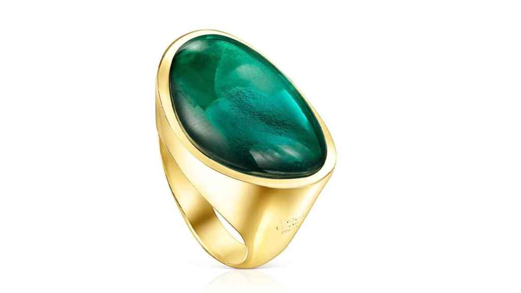 Anillo Tous Cocktail de plata vermeil y glass verde
