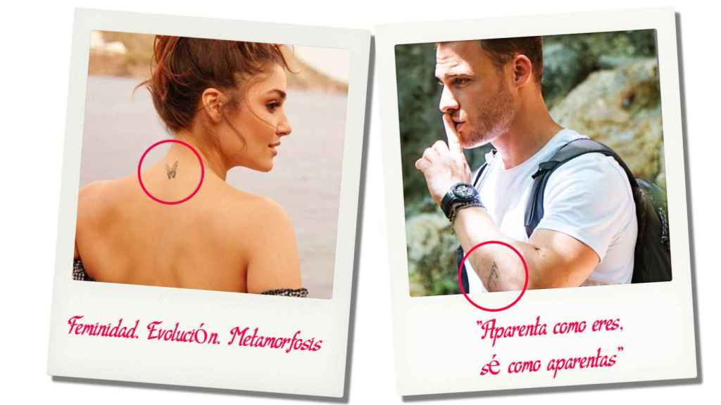 Hande wears a butterfly on the back of his neck, and Kerem has a Turkish phrase on his forearm.