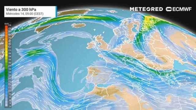 El chorro polar provocará nuevas tormentas, además de la llegada de partículas volcánicas. Meteored.