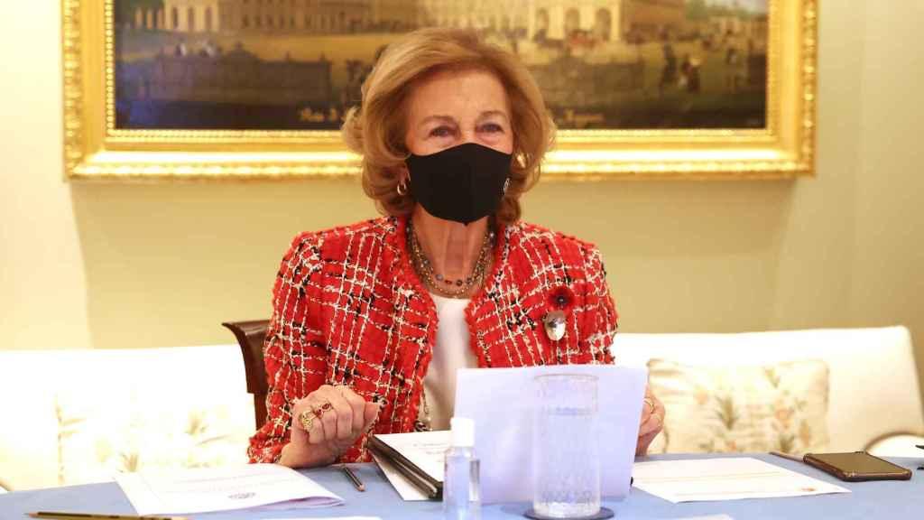 La reina Sofía en una videoconferencia con miembros de la Federación Española del Párkinson.