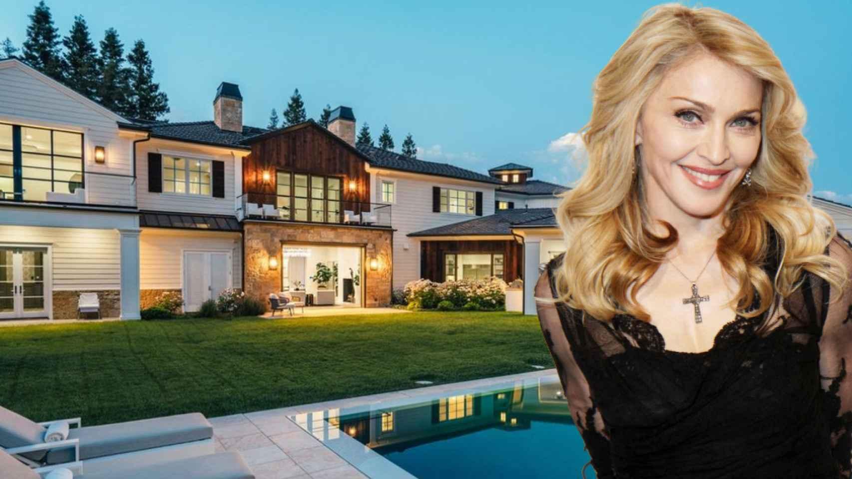 Madonna, junto a la casa que le ha comprado a The Weeknd, en un fotomontaje de JALEOS.