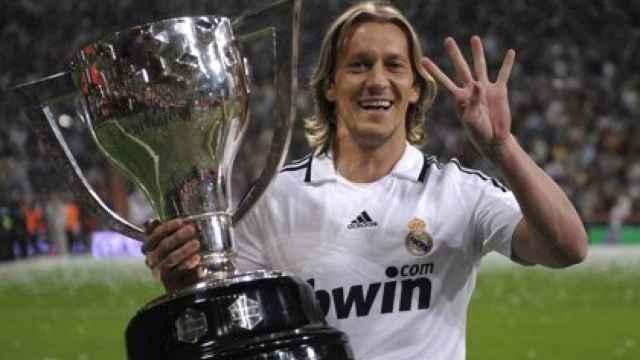 Míchel Salgado, celebrando el título de Liga con el Real Madrid