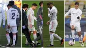 Carvajal, Lucas Vázquez, Sergio Ramos y Varane, en un collage