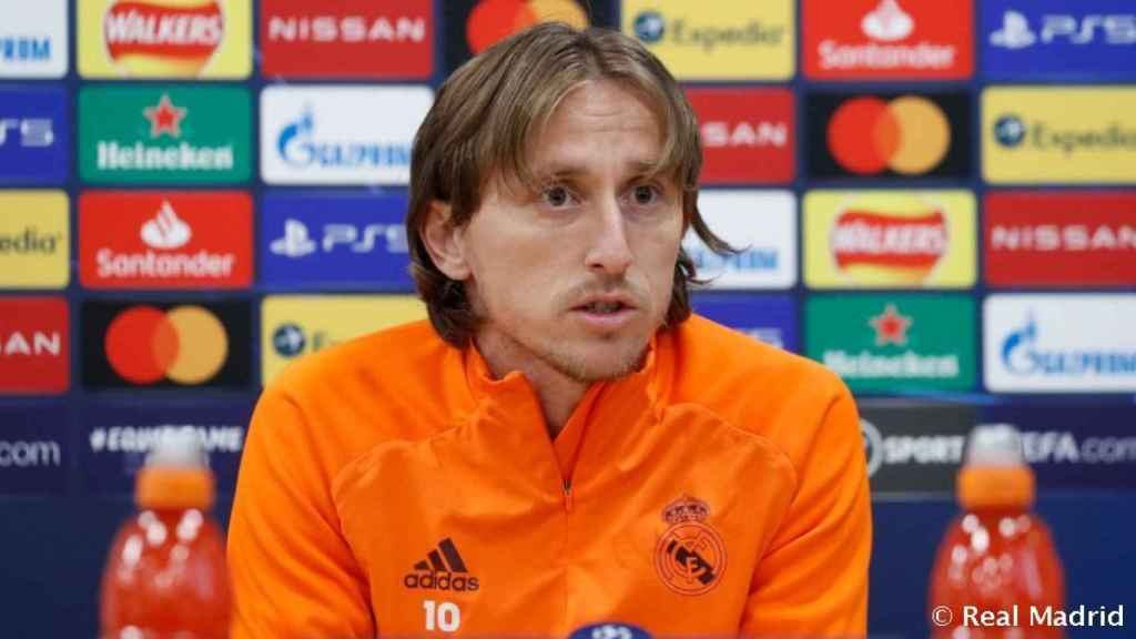 Luka Modric, en rueda de prensa de la Champions League con el Real Madrid