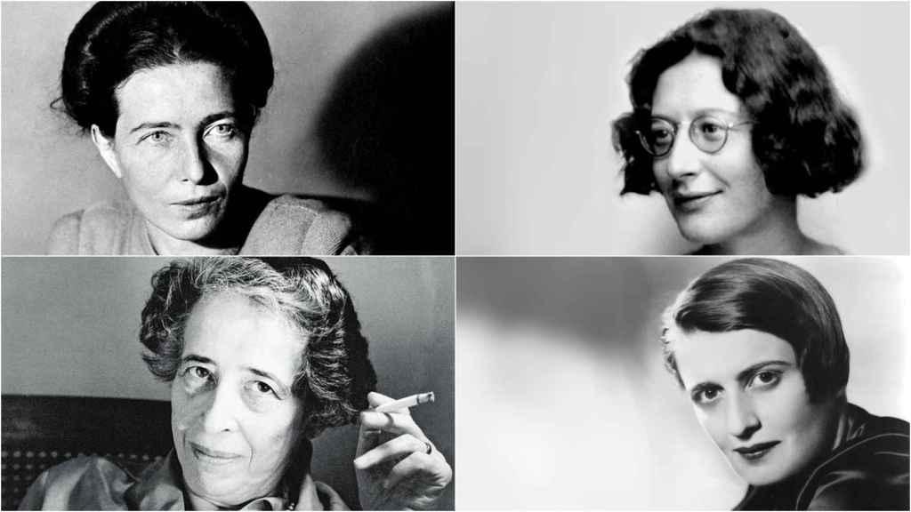Simone de Beauvoir, Simone Weil, Hannah Arendt y Ayn Rand.