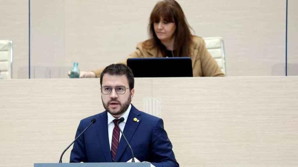 El candidato de ERC a la presidencia de la Generalidad, Pere Aragonès, en el debate de investidura.
