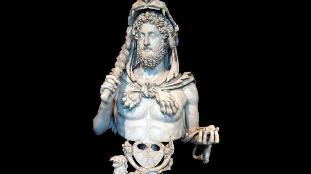 Busto de Cómodo como Hércules, con la piel de león, la clava y la manzana de las Hespérides.
