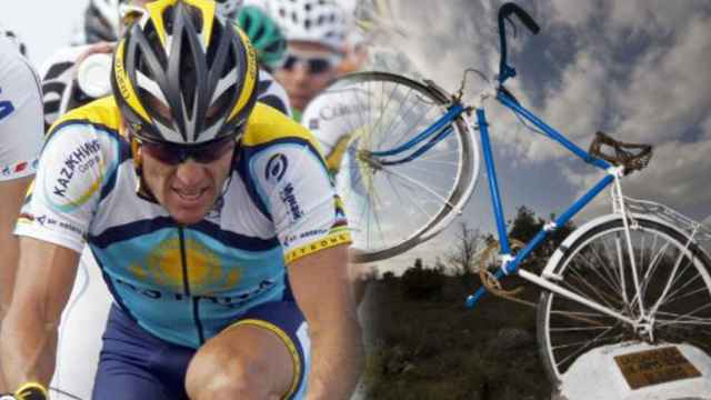 Lance Armstrong y el monumento que le brindó Antigüedad, en Palencia