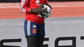 Misa Rodríguez, en un entrenamiento de la selección española de fútbol femenino