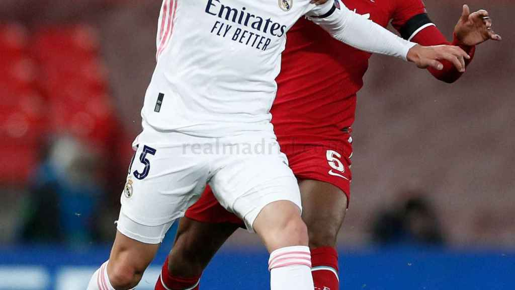 Fede Valverde, en el Liverpool - Real Madrid de la Champions League 2020/2021