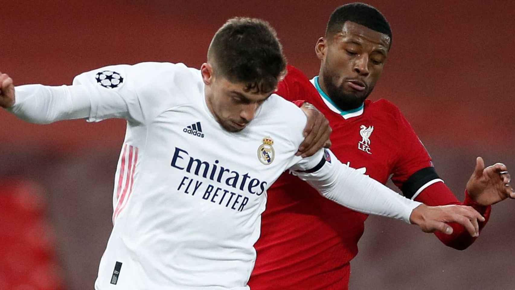 Fede Valverde, en el Liverpool - Real Madrid de la Champions League 2020/2021