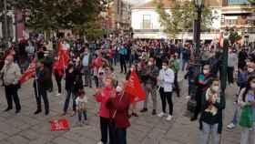 Concentración de los trabajadores de Repsol Petróleo en Puertollano (Ciudad Real). Foto: EUROPA PRESS