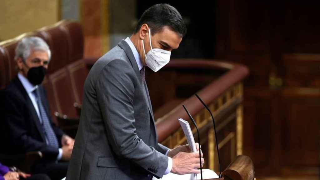 Pedro Sánchez esta mañana en el Congreso de los Diputados.