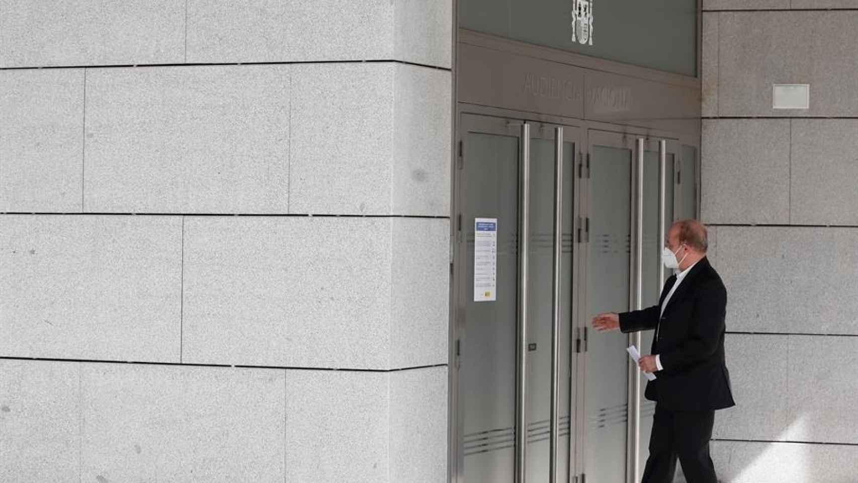 Miguel Sebastián, este miércoles entrando a declarar en la Audiencia Nacional./