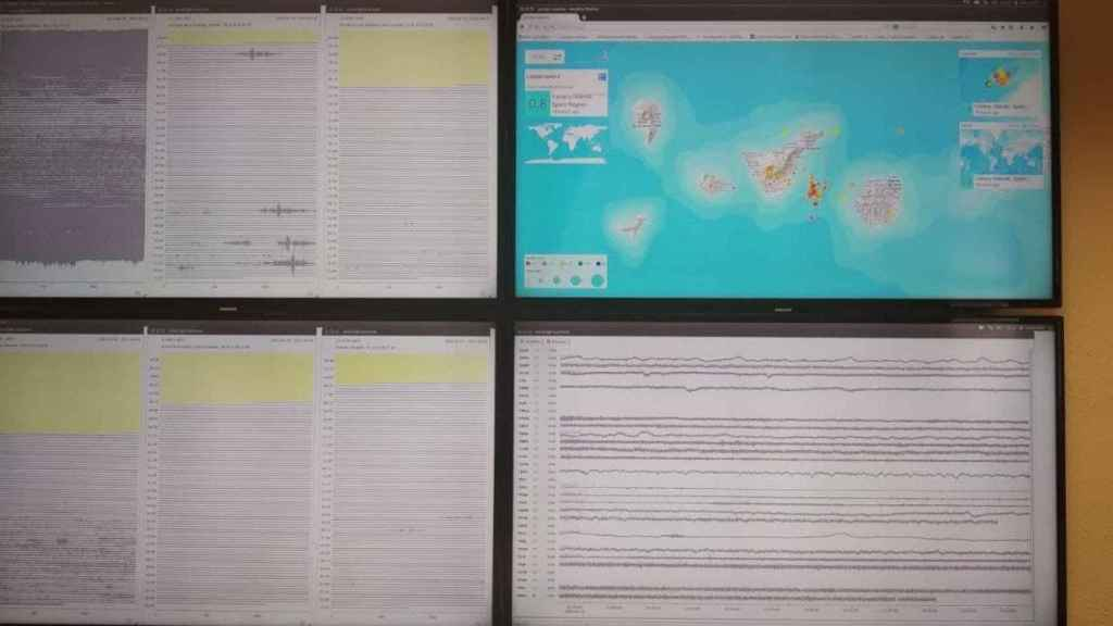 Sala de monitorización de la actividad volcánica de Canarias