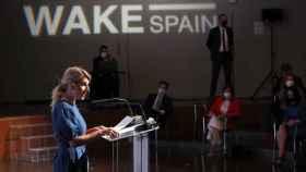 Yolanda Díaz, vicepresidenta tercera y ministra de Trabajo, en 'Wake up, Spain''. E. E.