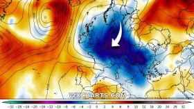 Representación de las temperaturas anómalamente bajas en Europa. Severe-weather.eu.
