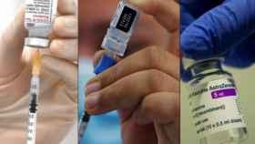 Viales de las vacunas de Moderna, Pfizer y Astrazeneca. EFE