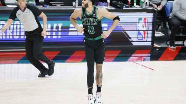 Jason Tatum durante un partido con los Boston Celtics