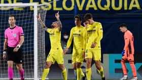 Paco Alcácer, del Villarreal, celebra su gol ante el Dinamo Zagreb