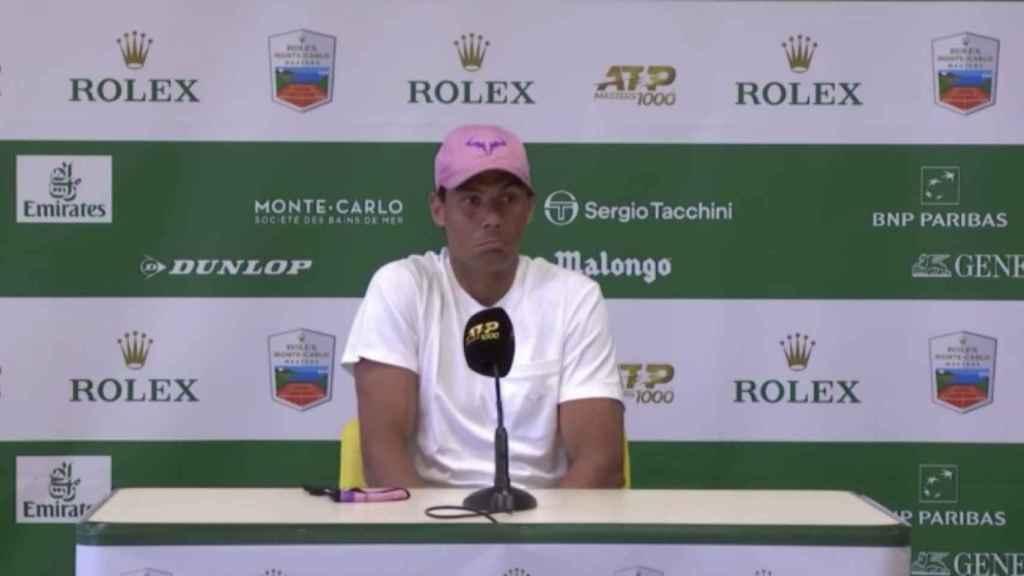 Rafa Nadal en rueda de prensa en el Master 1000 de Montecarlo