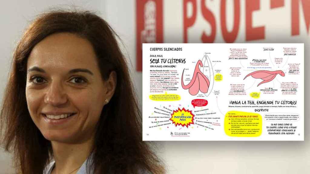 La alcaldesa del PSOE en Getafe, Sara Hernández, junto al contenido de la guía Rebeldes de género.