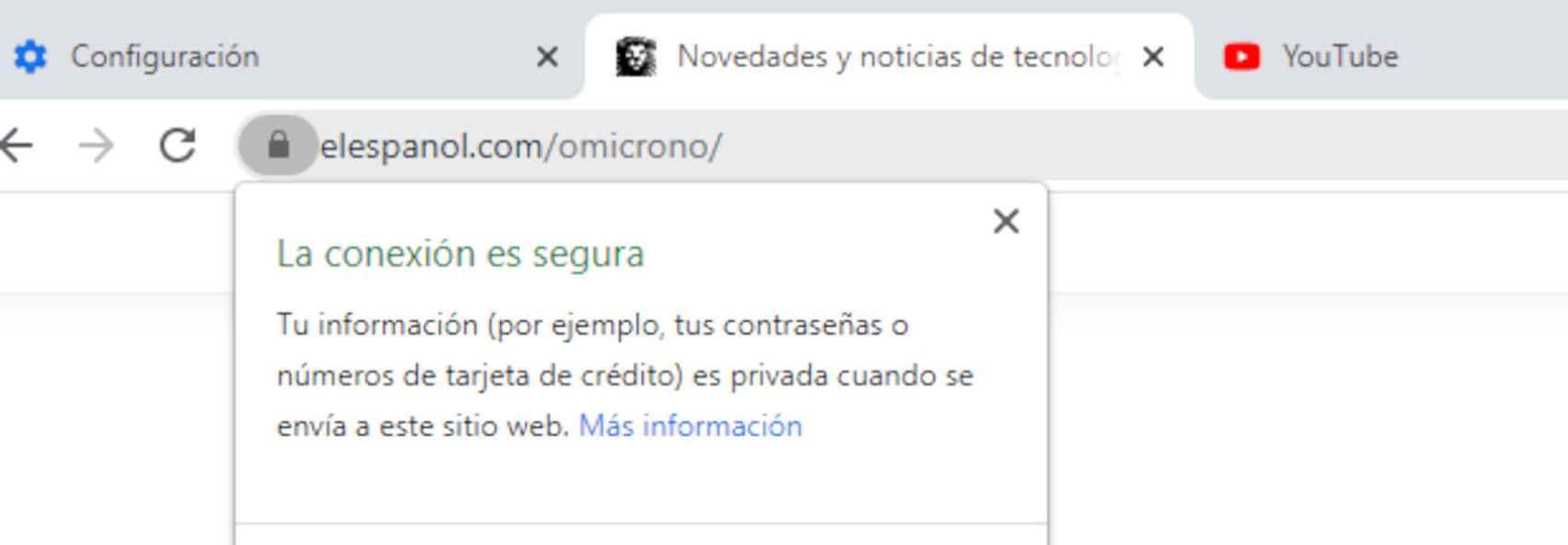 Mensaje de Chrome que indica que la conexión es segura