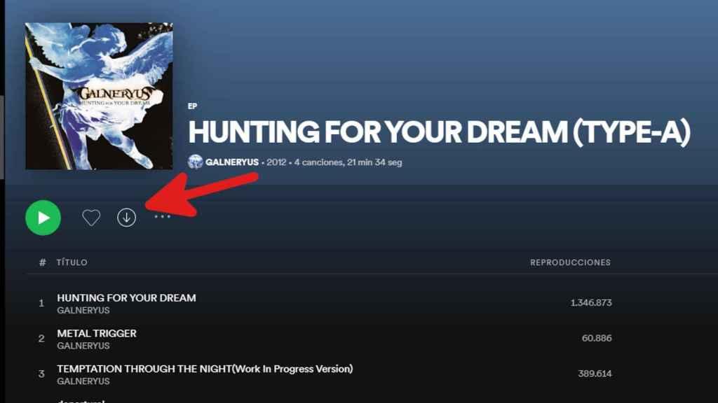 Botón de descarga de álbum en Spotify