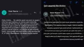 Dos de los correos con la amenaza de bomba contra el instituto que están transcritos en castellano y árabe.