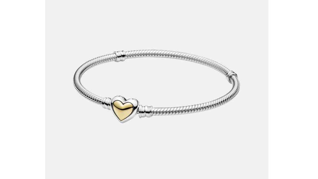 Pulsera Pandora Corazón Cúpula Dorada de plata y oro