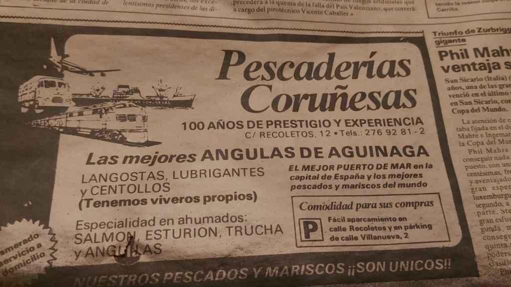 Anuncio de Pescaderías Coruñesas en la prensa.