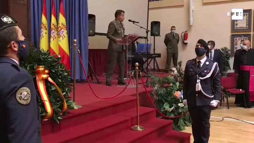 El teniente coronel, durante el acto.