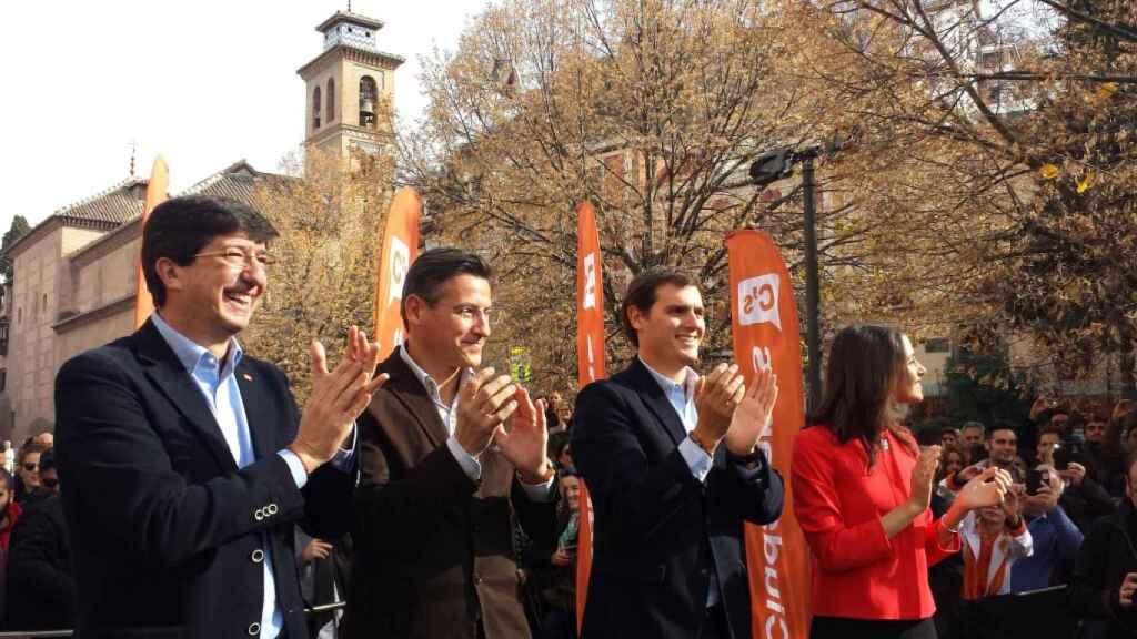 El alcalde de Granada junto a Juan Marín, Albert-Rivera e Inés Arrimadas en la campaña electoral de 2015.-Granada Cs