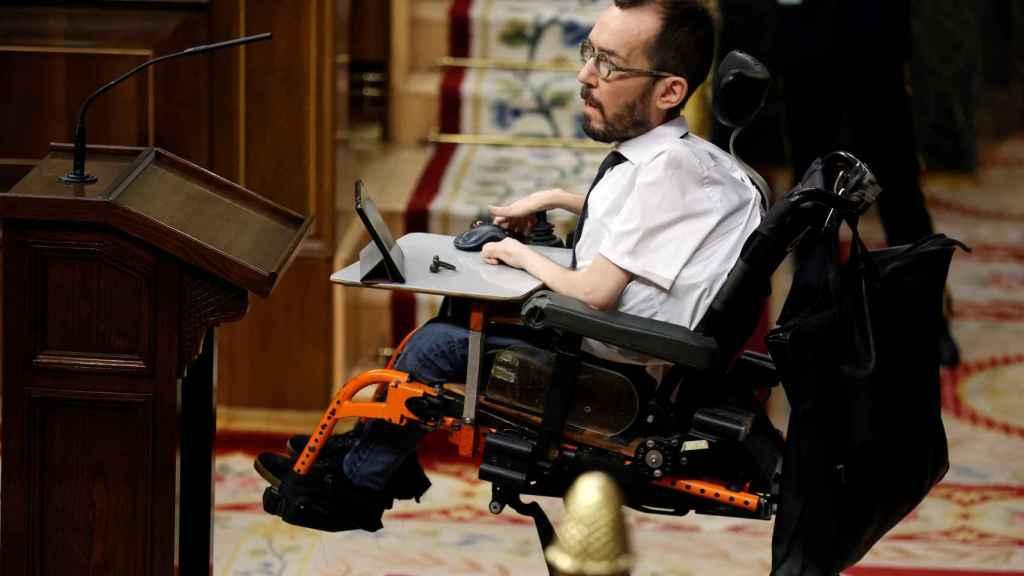 Pablo Echenique, durante su discurso del 14 de abril en el Congreso de los Diputados.