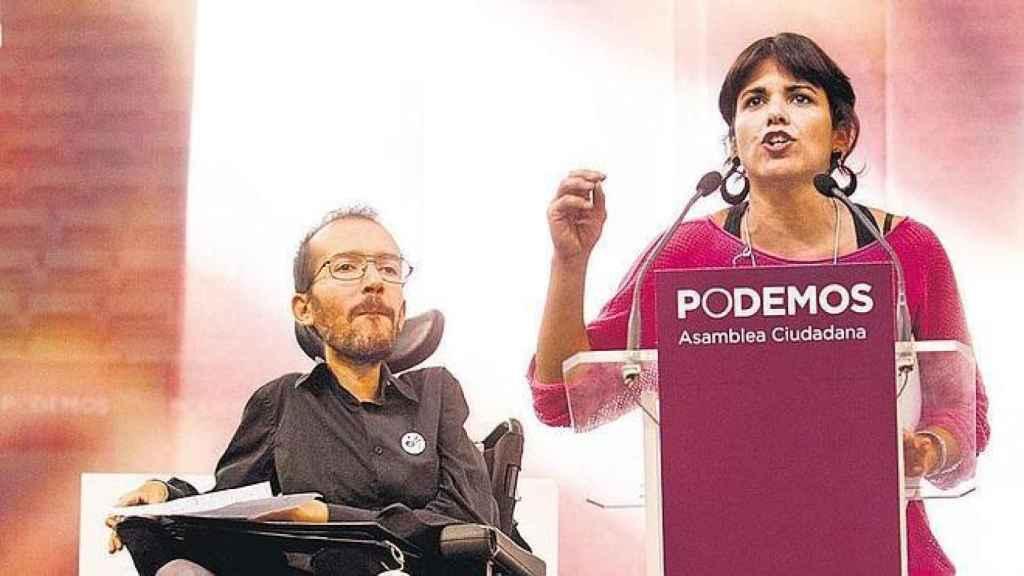 Pablo Echenique y Teresa Rodríguez, durante el Congreso Fundacional de Podemos en el que disputaron el poder a Pablo Iglesias.