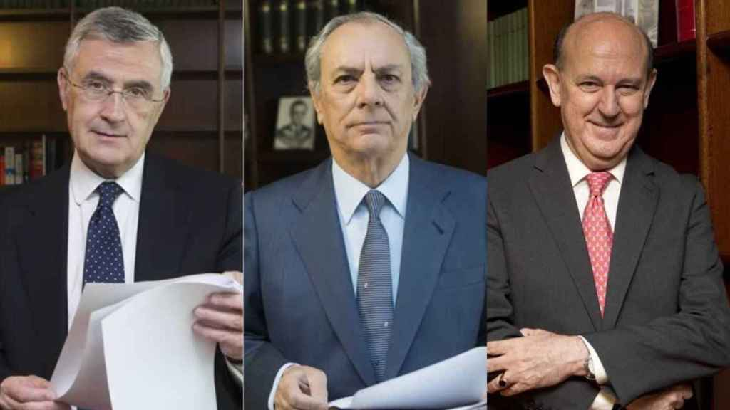 Los magistrados del Tribunal Constitucional Santiago Martínez-Vares, Alfredo Montoya y Andrés Ollero.