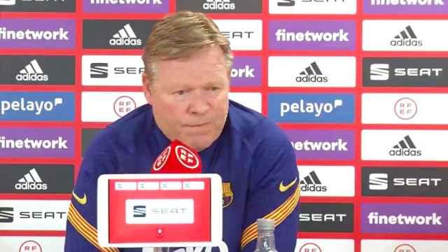 Koeman en la rueda de prensa previa a la final de Copa del Rey 2021