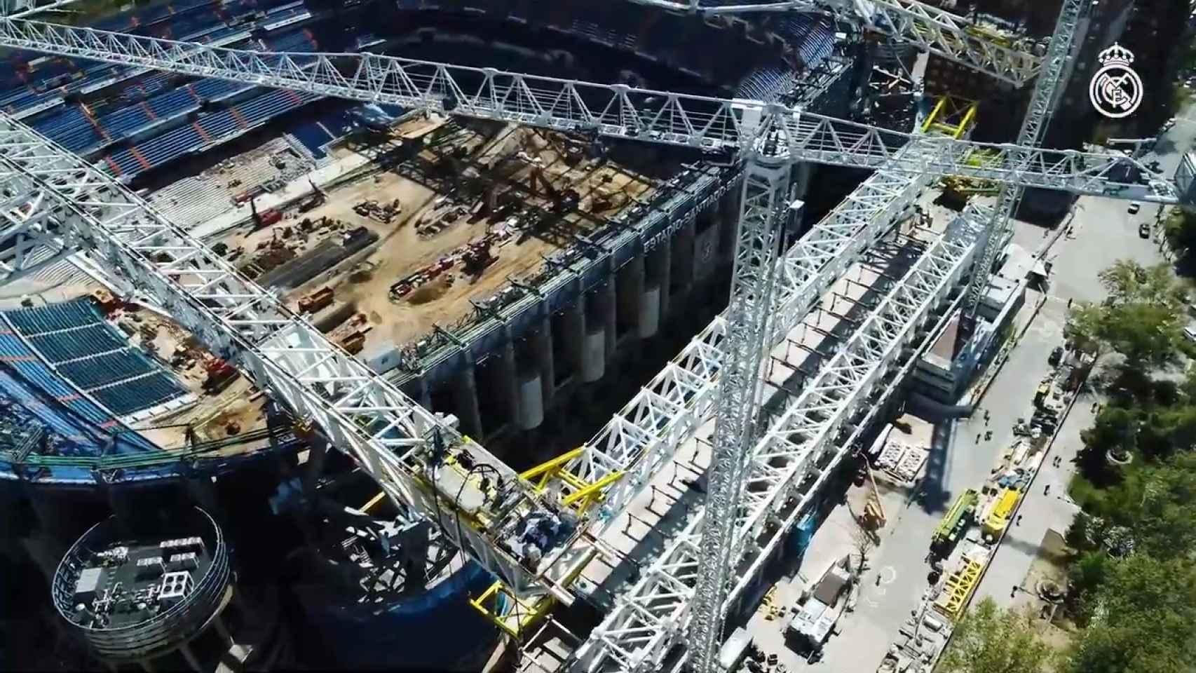 Las espectaculares obras del Santiago Bernabéu, desde un dron