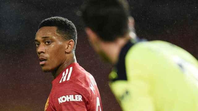 Anthony Martial durante un partido del Manchester United