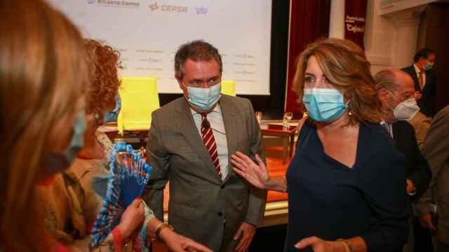 La secretaria general del PSOE andaluz, Susana Díaz, y el alcalde de Sevilla, Juan Espadas.