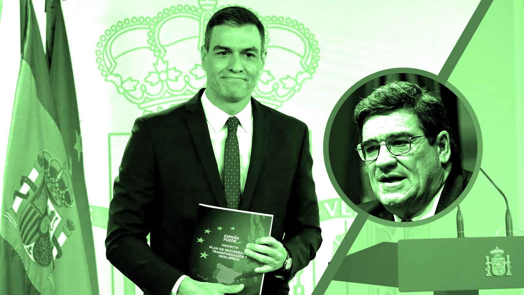 El presidente del Gobierno, Pedro Sánchez, y el ministro de Seguridad Social, José Luis Escrivá.