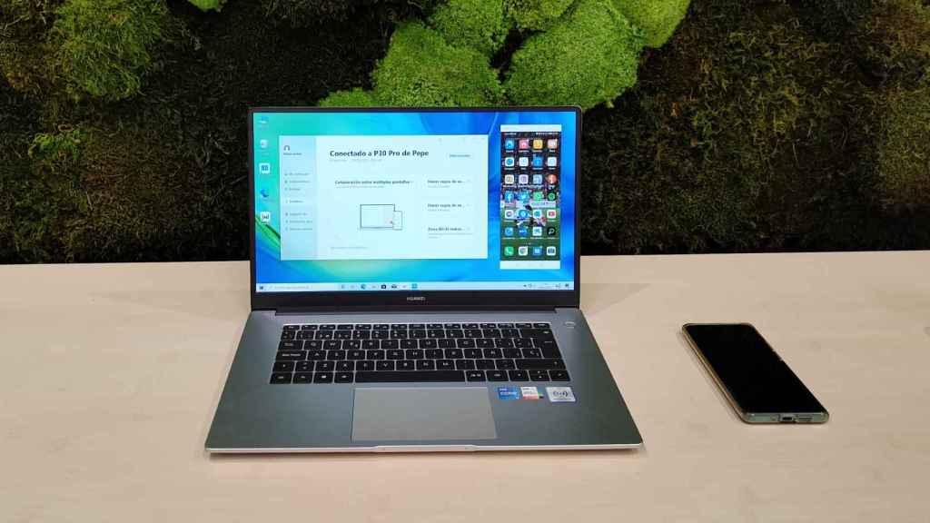 El Huawei MateBook D15 con Huawei Share.
