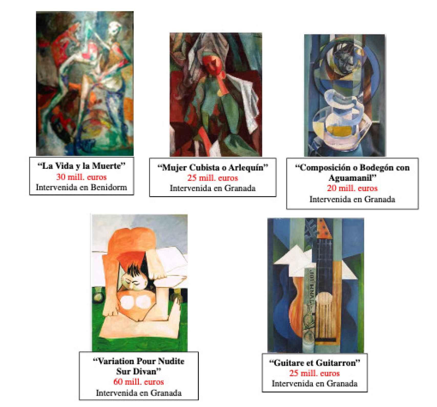 Los cinco Picassos falsos incautados.