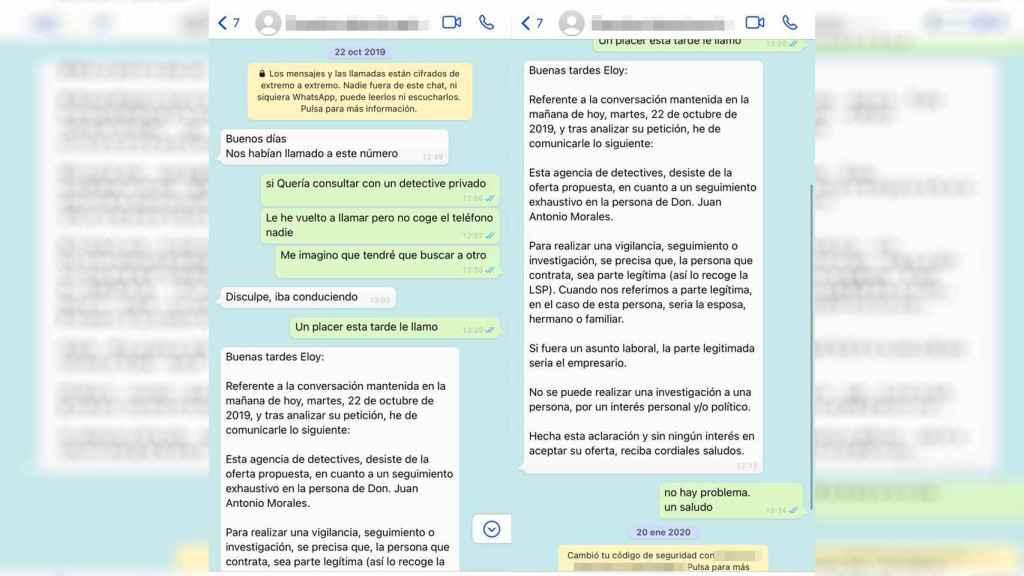 Conversación de WhatsApp en la que el detective extremeño rechaza el encargo de Loic, al que confunde con 'Eloy'.